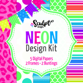 Neon Design Kit ~ Digital Papers, Frames & Buntings