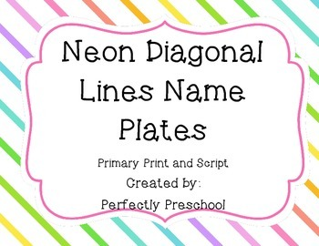 Neon Diagonal Lines Name Plates