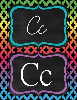 Neon Diamond manuscript & cursive ABC Classroom Decorations