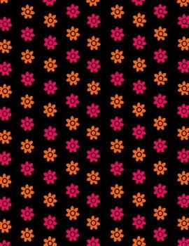 Neon Digital Paper (Black and Neon Flowers)