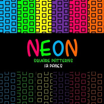 Neon Digital Paper (Black and Neon Squares)