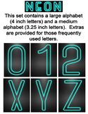Neon Display Alphabet - Turquoise
