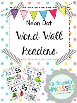 Neon Dot Word Wall Headers