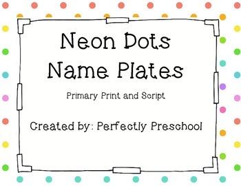 Neon Dots Name Plates