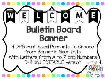 Neon Dots Pennant Banner - Letters A-Z and Numbers 0-9 with EDITABLE version