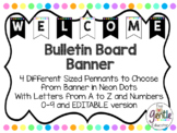 Neon Dots Pennant Banner - Letters A-Z and Numbers 0-9 wit