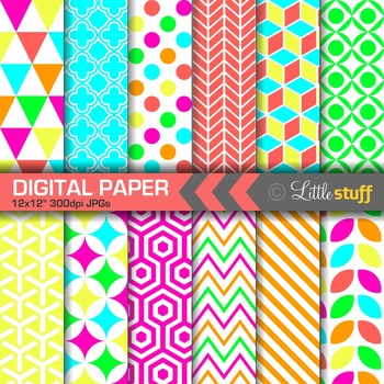 Neon Geometric Digital Papers
