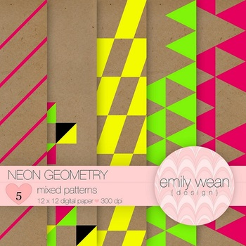 Neon Geometry Digital Paper
