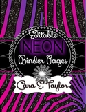 Neon Glitter Animal Print~Editable Covers for Binders