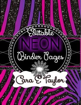 Neon Glitter Animal Print~Editable Covers for Binders