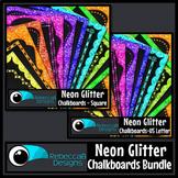 Framed Chalkboards Clip Art Bundle (Neon Glitter)