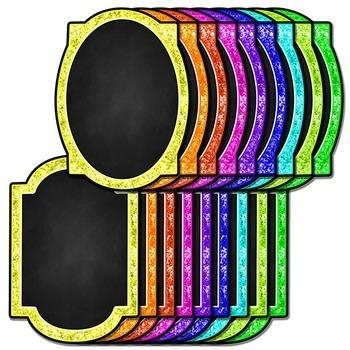 Neon Glitter Chalkboard Frames Clip Art