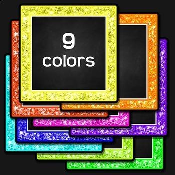 Chalkboard Labels Clip Art (Neon Glitter)