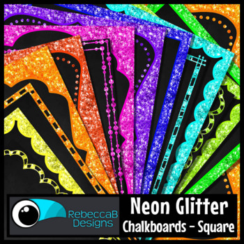 Neon Glitter Framed Chalkboards (Square)