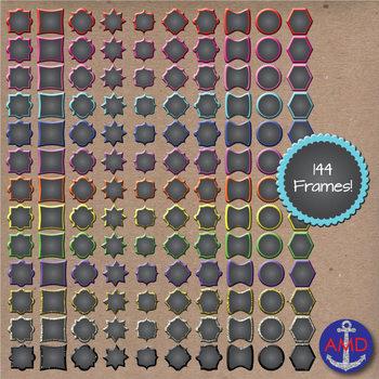 Neon & Glitter Curvy Chalkboard Frames- 130 Frame Mega Pack