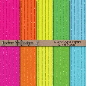 Neon & Glitter Pin Striped Digital Paper Pack