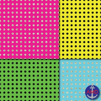 Neon & Glitter Polka Dot Digital Paper Pack