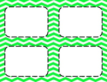 Neon Green Chevron Classroom Labels and Tags