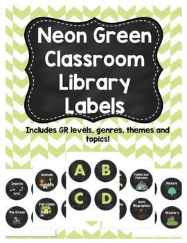Neon Green Classroom Library Labels