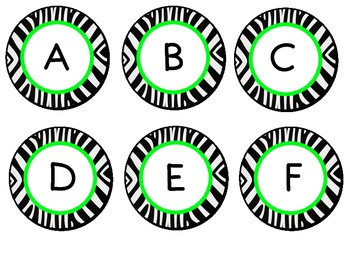Neon Green Zebra Letter Labels