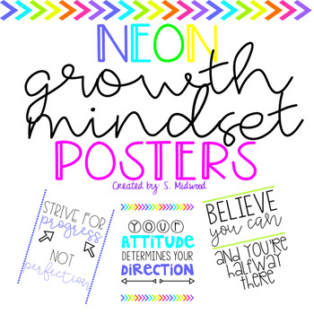 Neon Growth Mindset Quotes Poster Set