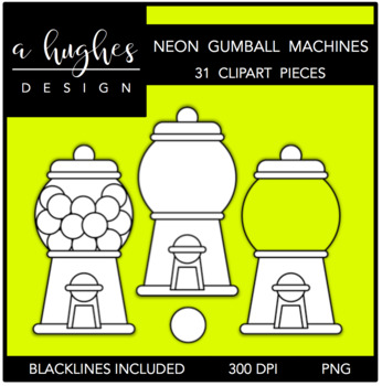 Neon Gumball Machines Clipart {A Hughes Design}
