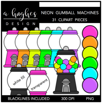 Neon Gumball Machines Clipart [Ashley Hughes Design]