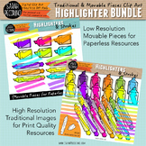 Neon Highlighter Clip Art BUNDLE: Movable Pieces and Tradi