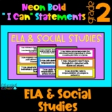 "Neon ""I Can"" Statements & Checklist - ELA & Social Studies - 2nd Grade"