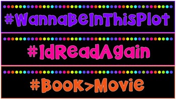 Neon Interactive Reading Bulletin Board: Hashtag Headers for Book Categories