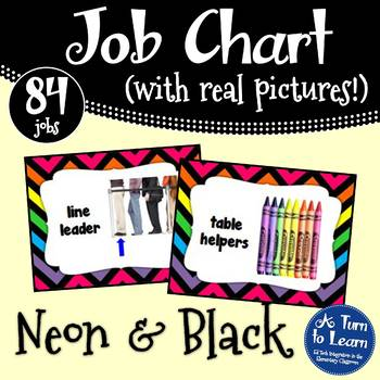 Neon Job Chart with Pictures