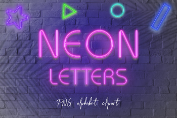 Neon Letters Clipart, Neon Alphabet & Numbers Clipart, Pink PNG Letters