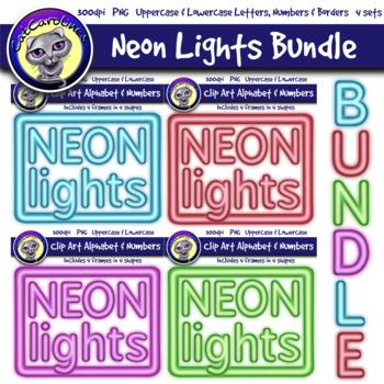 Neon Lights Clip Art Alphabet Letters & Frames Bundle