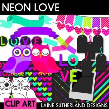 Neon Love Valentine's Day Clip Art, Accent & Digital Paper Set