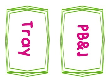 Neon Lunch Choice Signs (White Background)