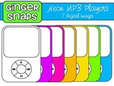 Neon MP3 Players Clip Art Set