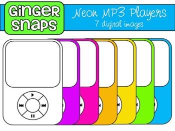 Neon MP3 Players Clip Art Set