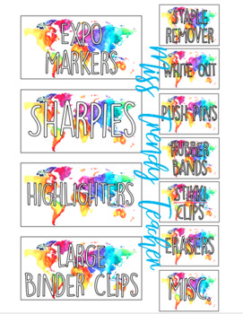 Neon Map Teacher Toolbox Organizer Labels (editable)