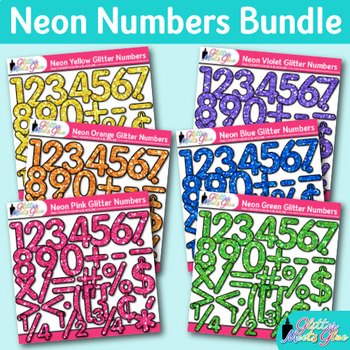Neon Math Numbers Clip Art Bundle {Great for Classroom Decor & Resources}