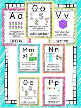 Neon Math Vocabulary Alphabet Manuscript