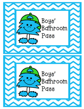 Neon Monsters Girls' and Boys' Bathroom Passes