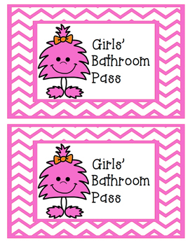 FREE Neon Monsters Girls' and Boys' Bathroom Passes