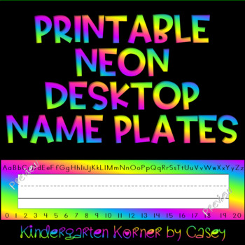 Neon Name Plates Desktop Name Tags with alphabet and numbers and blank templates