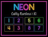 Neon Number Labels 1-30