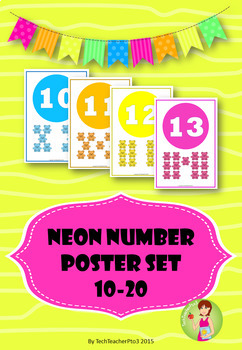 Neon Number Poster Set 10 to 20 to brighten up any kinder classroom $1 DEAL