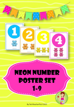Neon Number Poster Set  1-9 to brighten up any kinder classroom $1 DEAL