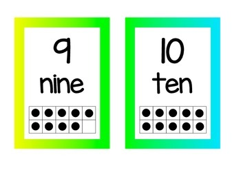 Neon Number Posters 1-20