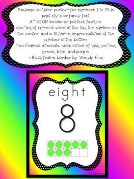 Neon Number Posters 1 - 20 Two formats with Ten Frames Pre-K Kindergarten