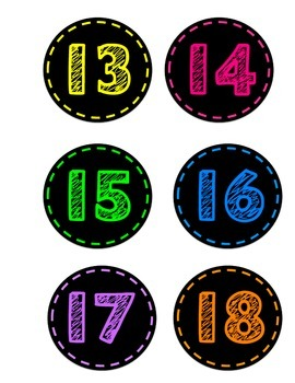 Neon Numbers 1-24
