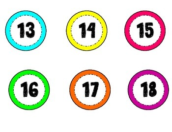 Neon Numbers 1-35